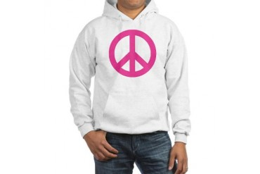 Hot Pink Peace Sign Hooded Sweatshirt