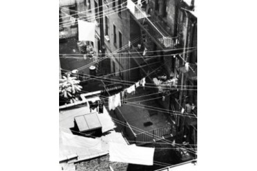 High angle view of clothes hanging on clotheslines, New York City, New York