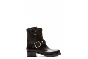 Valentino Black Leather Covered stud Biker Boots