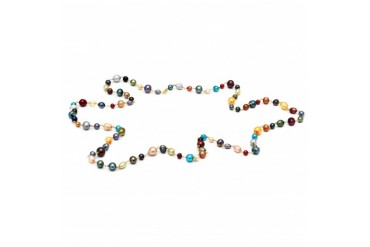 54IN 18K Gold Plated Multicolor Genuine FW Pearl Necklace