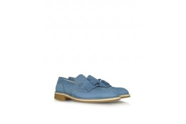 Denim Blue Leather Fringed Loafer