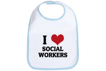 I Love Social Workers Occupations Bib by CafePress