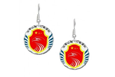 PLAAF Red Falcon demo team Army Earring Circle Charm by CafePress