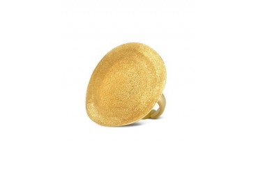 Golden Silver Etched Round Ring