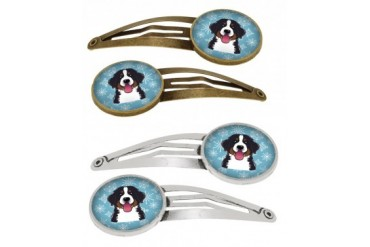 Snowflake Bernese Mountain Dog Set of 4 Barrettes Hair Clips