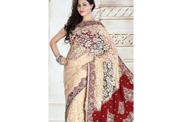 Cream Net Brasso Saree