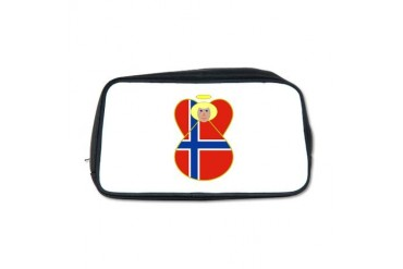 Small Norwegian Flag Angel Blonde Hair Toiletry Ba Flag Toiletry Bag by CafePress