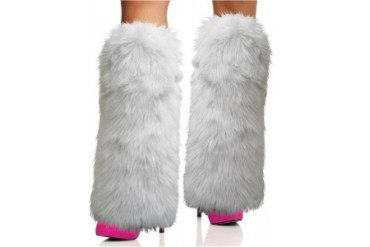 Furry White Leg Warmers