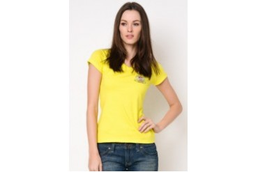 Ladies Basic V-Neck Printed T-Shirt