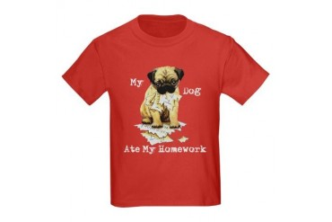 Pug Ate Homework Kids Dark T-Shirt