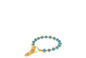Crystal with Chain Tassel Stackable Bracelet