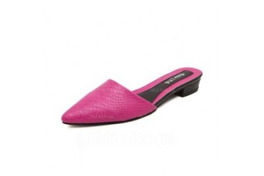 Leatherette Low Heel Flats Slippers shoes (086052370)