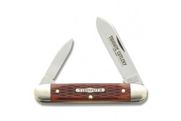 Tidioute 2 Blade Cigar Half-Whittler with Rust Red Jigged Bone Handle