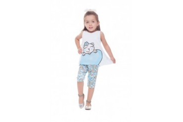 Toddler Girl Hi-Low Graphic Tank Top Pattern Capris 2pc Outfit 1-3Y