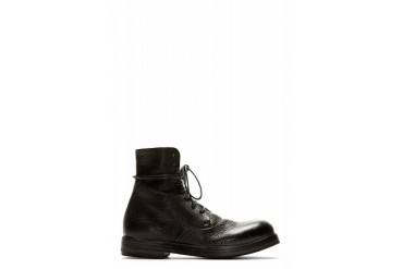 Marsll Black Grained Leather Zucca Zeppa Combat Boots