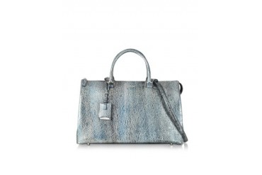 Large Jil Bag Silver and Blue Metallic Knitted Leather Satchel