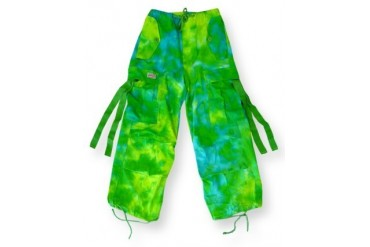 Kids Unisex Basic UFO Pants (Green/Yellow Tie Dye)