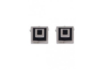 MALVIC CUFFS Silver And Black Squares Cufflinks