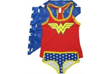DC Comics Wonder Woman Caped Lacy Tank and Briefs Junior Pajama Set
