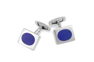 DiFulco Line Rectangular Frame Sterling Silver Cufflinks