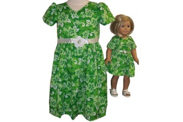 Size 7 Green Dress With Matching Doll Dress