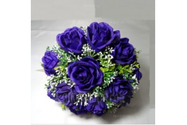Refined Round Satin Bridesmaid Bouquets (123031486)