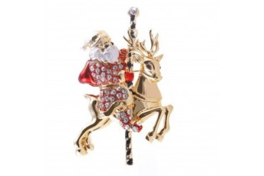 Santa Riding Carousel Brooch
