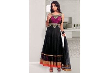 Majestic Black Net Ankle Length Anarkali Suit