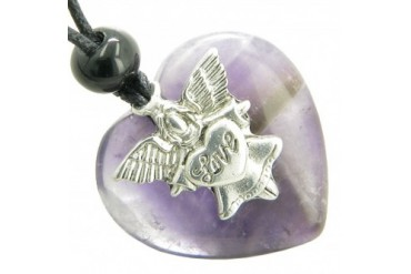 Guardian Spirit Angel Love Heart Amulet Protection Purple Quartz Necklace