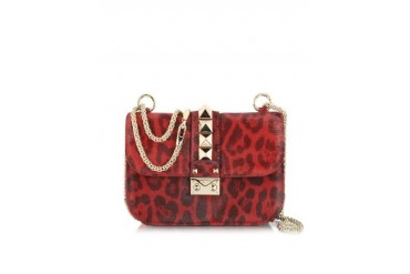 Red Calfhair Animal Print Shoulder Bag