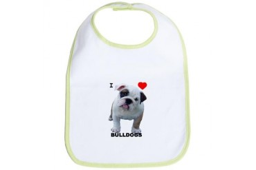 Bulldog I love Bulldogs Cupsthermosreviewcomplete Bib by CafePress