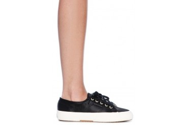 x Man Repeller Classic Satin Sneaker in Black - designed by Superga