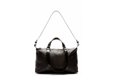 Costume National Black Grained Leather Duffle Bag