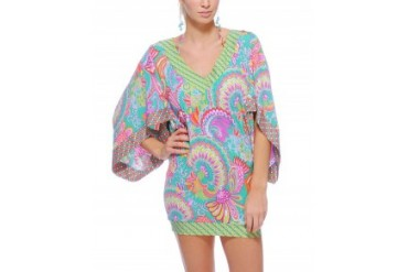 Trina Turk 'Festival' Folkloric Bell Cover Up Tunic Multi, L