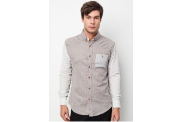 Private Stitch Grey Contrast Sleeve and Pocket Long Sleeve Shirt