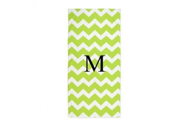 Lime Green Chevron Monogram Beach Towel