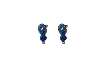 Vibrant Blue Green and Gold Terracotta Peacock Earrings