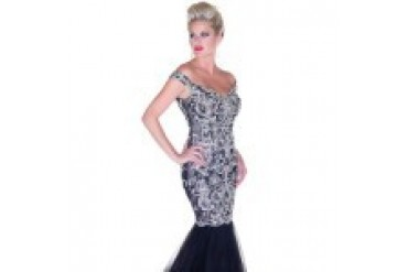 Mac Duggal Black White Red - Style 81900R