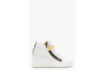 Giuseppe Zanotti White Leather Maylon High top Sneakers