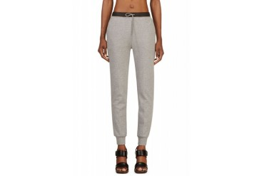 T By Alexander Wang Heather Grey Cotton And Leather Lounge Pants