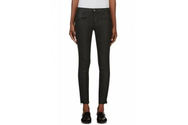 Current elliott Black Coated The Soho Zip Stiletto Jeans