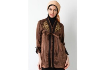 Sofie Design Blouse Bordir Payet Coklat Bunglon
