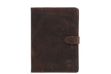Leather folio case for iPad - Hunter brown