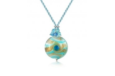 Vortice - Turquoise Murano Glass Swirling Bead Necklace