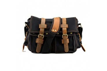 Men s Vintage Canvas Leather Satchel School Military Shoulder Bag Messenger