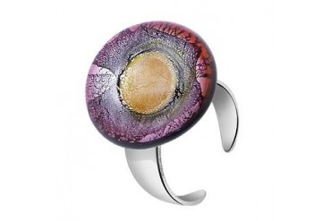 Silver Leaf and Murano Glass Round Open Ring