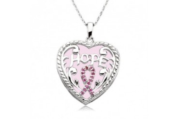 Breast Cancer Awareness Necklace In Silver