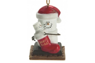 Santa Hat Smores Baby First Christmas Holiday Ornament