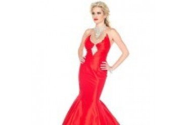 Mac Duggal Black White Red - Style 61630R