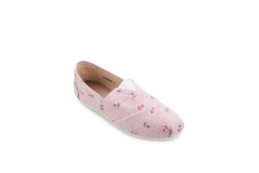 Red Anchor Print Slip On Espadrille